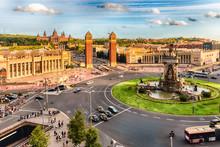 Aerial View Of Placa D'Espanya, Landmark In Barcelona, Catalonia, Spain