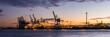 canvas print picture - Sonnenuntergang Hamburger Hafen