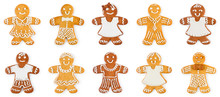 Set Gingerbreads Boys And Girls - Christmas Sweet Cookies, Isolated On White Background