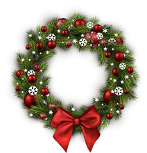 Christmas Wreath Isolated On W...