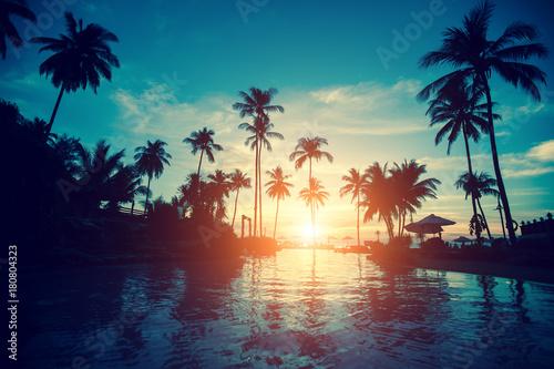 Foto op Aluminium Bomen Amazing sunrise on a tropical sea beach.