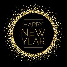 Happy New Year Round Gold Sparkle Illustration 1