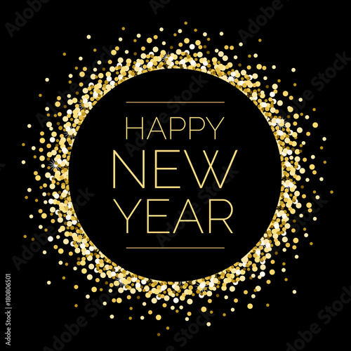 Photo  Happy New Year Round Gold Sparkle Illustration 1