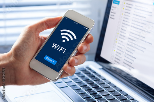 WiFi symbol, smartphone screen, button to connect to wireless internet