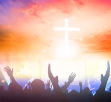 Christians Prayed Together Church Group,Human,Cross,Praying,Worship ,
