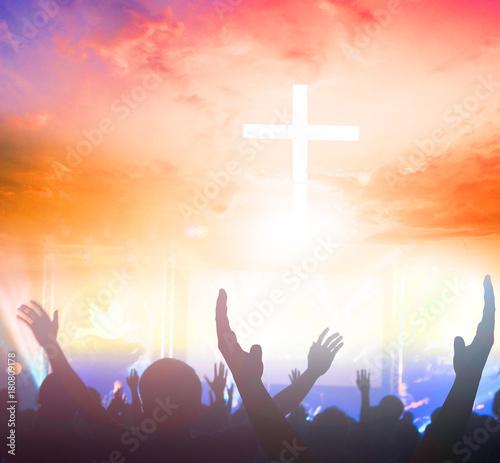 Christians prayed together church Group,Human,Cross,Praying,Worship , Wallpaper Mural
