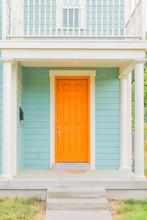 Bright Colored Front Door Of R...