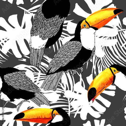 Bezszwowy wzór z tropikalnym ptasim tukanem.