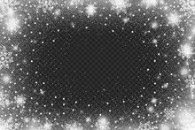 Snow Frost Effect On Transparent Background . Abstract Bright White Shimmer Lights And Snowflakes. Glowing Blizzard. Scatter Falling Round Particles.