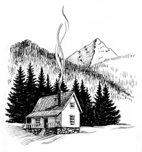 Cabin In The Mountains. Black ...