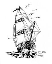 Tall Sailing Ship In The Sea. ...