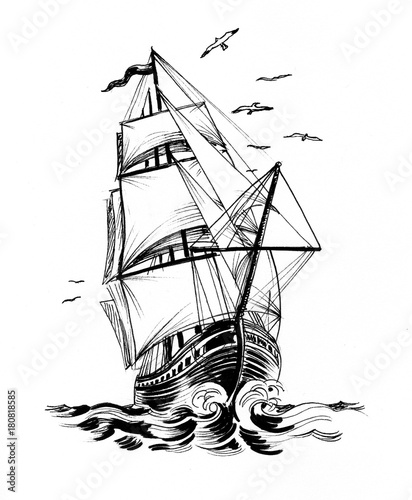 Fotografia  Tall sailing ship in the sea. Ink black and white drawing