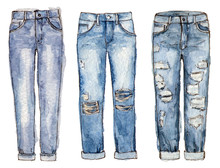 Watercolor Hand Painting Fashion Jeans. Isolated Elements