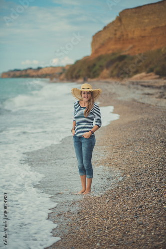 Adorable beauty lady woman eve walking posing alone on beach