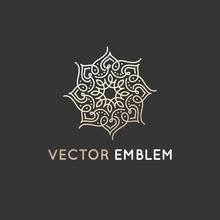 Vector Logo Design Template - Abstract Symbol In Ornamental Arabic Style