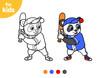 Coloring book, Panda ready hit the ball. Baseball sport