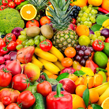 Large Collection Fruits And Vegetables. Healthy Foods.