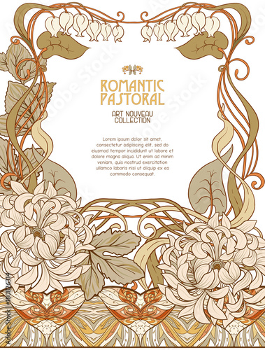 Poster, background with space for text and decorative flowers in art nouveau style, vintage, old, retro style. Stock vector illustration. Wall mural