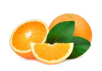 whole and half of orange fruit with green leaves isolated on white background