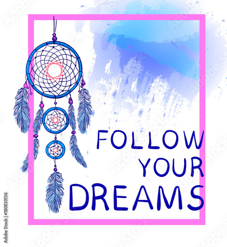 FOLLOW YOUR DREAMS Words With Dream Catcher With Paint Splash Enchanting Dream Catcher Words