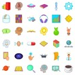 Brain icons set, cartoon style