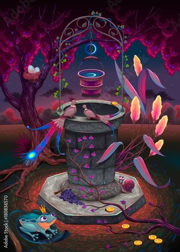Staande foto Kinderkamer The wishing well in a magic garden