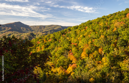 Photo Stands Natural Park Smoky Mountain Autumn Background. Great Smoky Mountains during autumn color with Mt. Leconte in the background. Gatlinburg, Tennessee.
