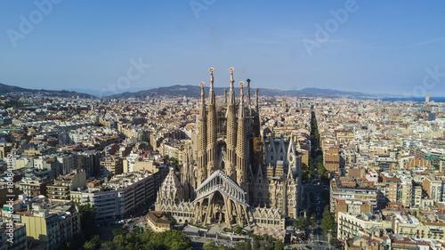 Obraz na dibondzie (fotoboard) Widok z lotu ptaka La Sagrada Familia, Barcelona