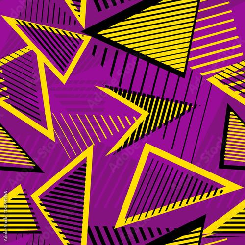 Plakat Miastowej sztuki sporta abstrakcjonistyczny wektorowy bezszwowy wzór. Linie geometryczne, trójkąty. Wzór miejski. Wzór sportowy.