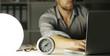 canvas print picture - Mann spät nachts im Büro, Überstunden
