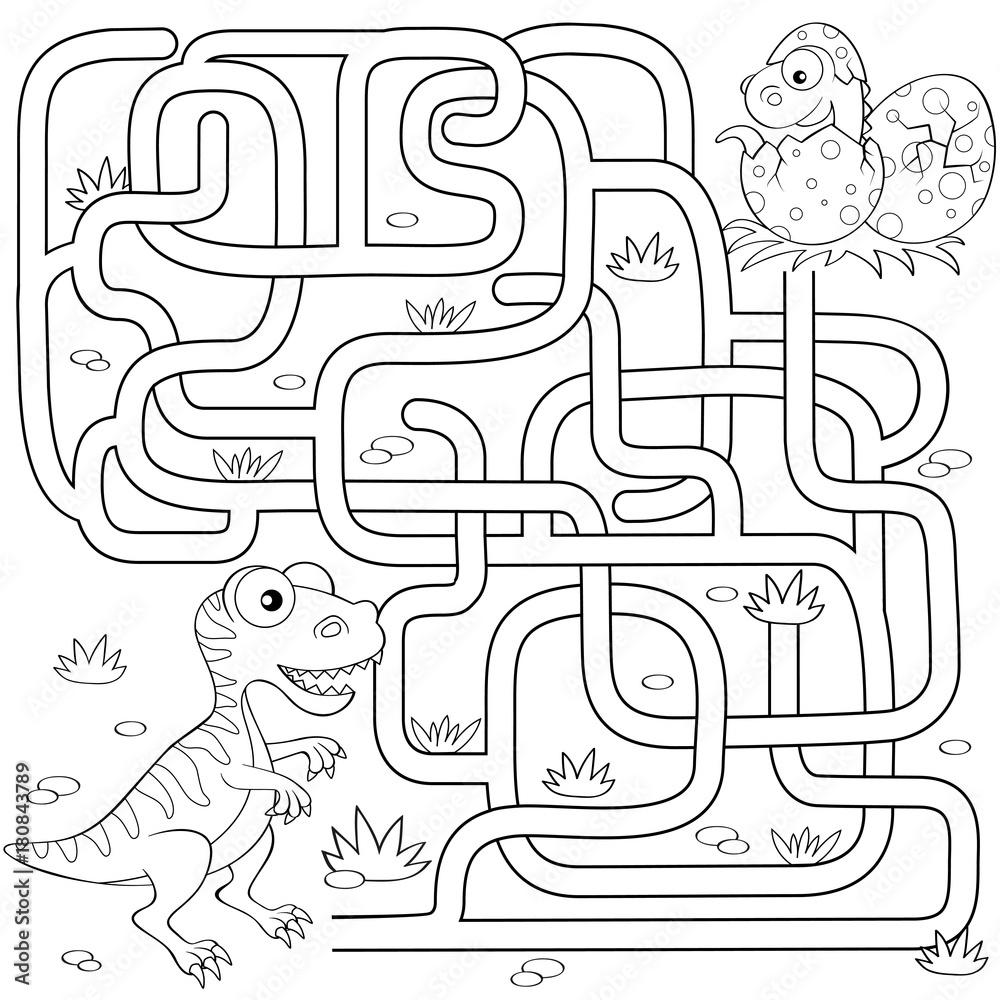 Pomoz Dinozaurowi Znalezc Sciezke Do Zagniezdzenia Labirynt Gra