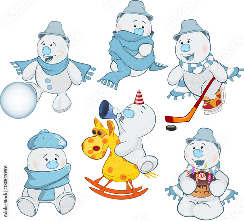 Door stickers Baby room Cartoon Illustration of a Funny Christmas Snowman for you Design