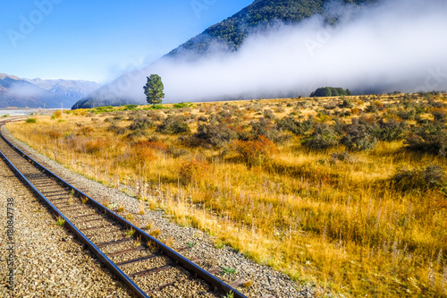 Poster Océanie Railway in Mountain fields landscape, New Zealand