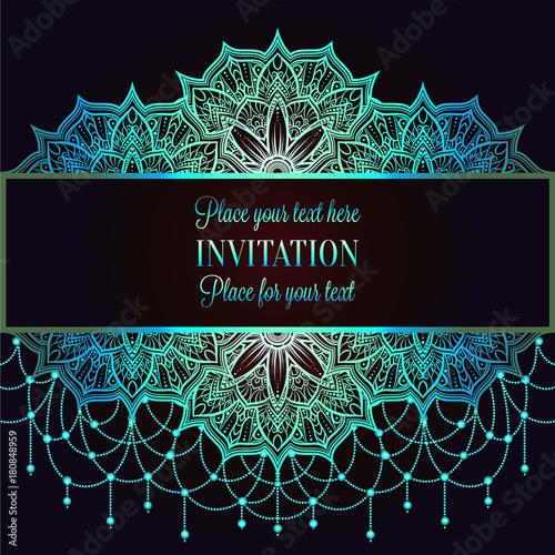 Wedding Invitation Or Card Intricate Mandala With Beads