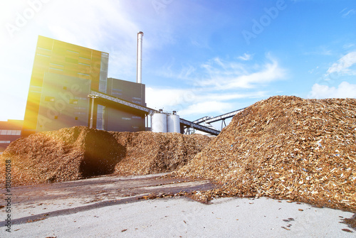 bio power plant with storage of wooden fuel against blue sky Wallpaper Mural