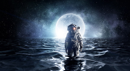 Spaceman in the sea. Mixed media
