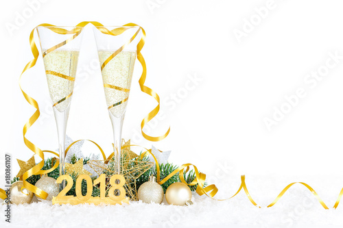 Fotografie, Obraz  New Year Celebration with Champagne Glasses 2018