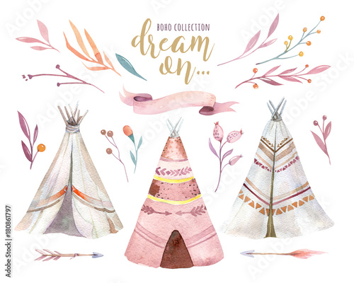 Photo sur Aluminium Style Boho Hand drawn watercolor tribal teepee, isolated campsite tent. Boho America traditional native ornament wigwam. Indian bohemian decoration tee-pee with arrows and feathers.