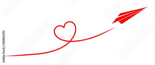 Fotografia, Obraz Papierflugzeug fliegt ein Kondesstreifen-Herz / Vektor, rot, freigestellt
