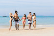 Young People Group On Beach Summer Vacation, Happy Smiling Friends Walking Seaside Sea Ocean Holiday Travel