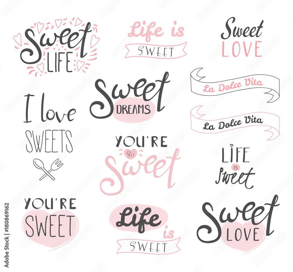 Zestaw Różnych Elementów Typografii O Słodyczy życiu I