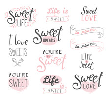 Set Of Different Typography Elements About Sweets, Life And Love, Italian Text La Dolce Vita (Sweet Life). Isolated Objects On White Background. Design Concept Dessert, Kids.