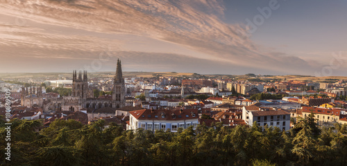 Burgos Cathedral and city panorama at sunrise
