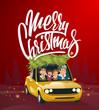 Merry Christmas illustration, family holidays on car