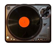 Spinning Record Vinyl Player With Orange Vinyl Record