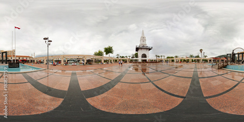 360 degree. Spherical panorama or hdri map. Turkey, Kemer Saat Kulesi. View of Ataturk square.