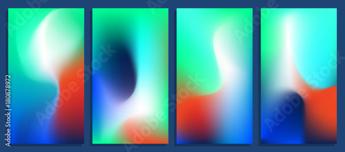 Photo  Vivid blurred holographic gradient backgrounds, vector colorful posters