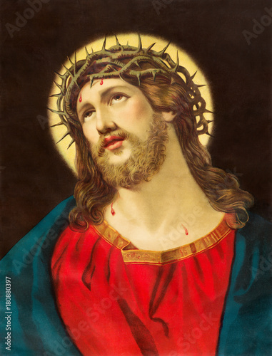BRATISLAVA, SLOVAKIA, NOVEMBER - 11, 2017: Typical catholic image of Jesus Christ with the crown of thorns printed in Germany from end of 19. cent.