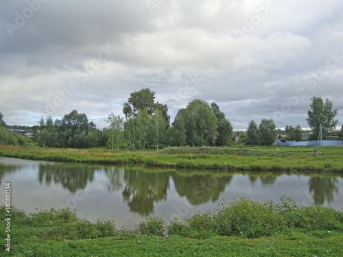 Fototapeta rural pond with green grass and trees under a cloudy sky obraz na płótnie