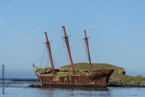 Foto op Canvas Schipbreuk Bayard wreck in Ocean harbour on South Georgia